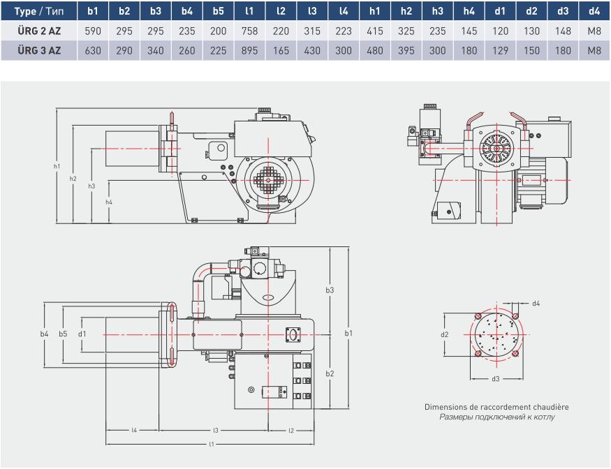 Характеристики модуляционных газовых горелок  URG 2AZ и URG 3AZZ
