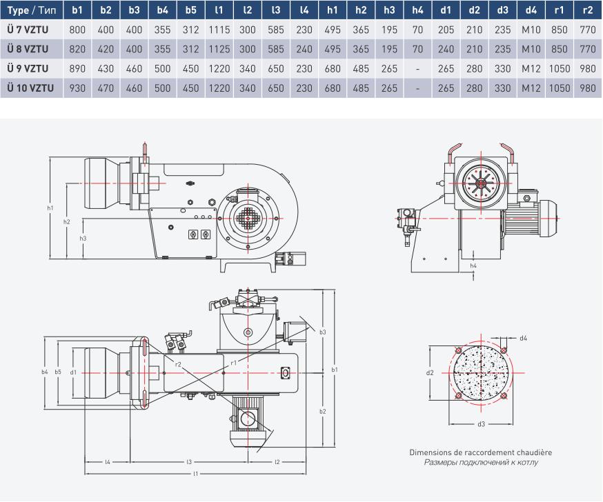 Характеристики дизельных двухступенчатых горелок Урет U 7 VZTU, U 8 VZTU, U 9 VZTU и U 10 VZTU
